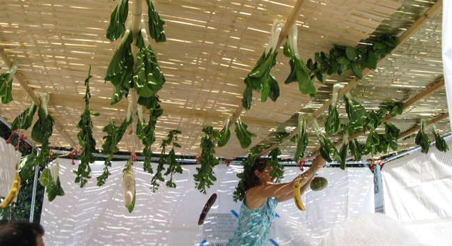 Woman-decorating-sukkah-Sukkot