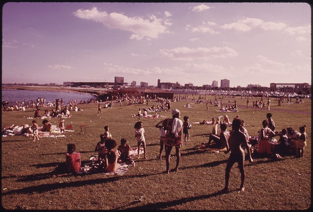 U.S. National Archives Chicago Families Enjoying The Summer Weather At The 12th Street Beach On Lake Michigan Aug 1973